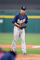 Gwinnett Braves pitcher Hector Daniel Rodriguez (34) goes into his delivery during a game against the Buffalo Bisons on May 13, 2014 at Coca-Cola Field in Buffalo, New  York.  Gwinnett defeated Buffalo 3-2.  (Mike Janes/Four Seam Images)