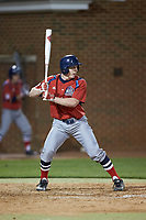 Tommy Derer (27) of the NJIT Highlanders at bat against the High Point Panthers at Williard Stadium on February 18, 2017 in High Point, North Carolina. The Highlanders defeated the Panthers 4-2 in game two of a double-header. (Brian Westerholt/Four Seam Images)