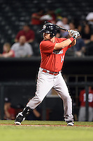 Oklahoma City RedHawks first baseman Erik Castro (14) at bat during a game against the Memphis Redbirds on May 23, 2014 at AutoZone Park in Memphis, Tennessee.  Oklahoma City defeated Memphis 12-10.  (Mike Janes/Four Seam Images)