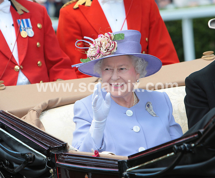 **ALL ROUND PICTURES FROM SOLARPIX.COM**.**NO UK NEWSPAPER PUBLICATION**.**UK MAGAZINE & SUPPLEMENT PUBLICATION ONLY** AND NO PUBLICATION IN AUSTRALIA, BELGIUM, FRANCE, GERMANY, ITALY, SCANDINAVIA AND USA** .Members of the Royal Family attend Ladies Day at Ascot Races, UK. 17 June 2010..This pic: HRH Queen Elizabeth II..JOB REF: 11505 SFE       DATE: 17_06_2010.**MUST CREDIT SOLARPIX.COM OR DOUBLE FEE WILL BE CHARGED**.**MUST NOTIFY SOLARPIX OF ONLINE USAGE**.**CALL US ON: +34 952 811 768 or LOW RATE FROM UK 0844 617 7637**