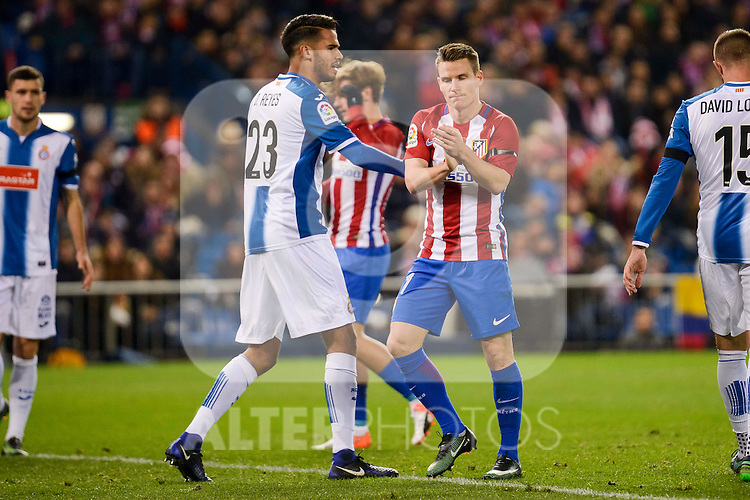 Atletico de Madrid's player Kevin Gameiro and RCD Espanyol player Diego Reyes during match of La Liga between Atletico de Madrid and RCD Espanyol at Vicente Calderon Stadium in Madrid, Spain. December 03, 2016. (ALTERPHOTOS/BorjaB.Hojas)
