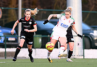 Tine Schryvers (23) of OHL pictured in action with Laura Vervacke (20) of Zulte-Waregem during a female soccer game between Oud Heverlee Leuven and SV Zulte-Waregem on the 16 th matchday of the 2020 - 2021 season of Belgian Womens Super League , sunday 14 th of March 2021  in Heverlee , Belgium . PHOTO SPORTPIX.BE | SPP | DAVID CATRY