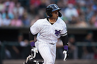 Yoelqui Cespedes (15) of the Winston-Salem Dash hustles down the first base line during the game against the Greensboro Grasshoppers at Truist Stadium on June 19, 2021 in Winston-Salem, North Carolina. (Brian Westerholt/Four Seam Images)