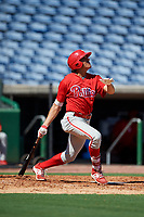 Philadelphia Phillies Jose Cedeno (16) follows through on a swing during a Florida Instructional League game against the New York Yankees on October 12, 2018 at Spectrum Field in Clearwater, Florida.  (Mike Janes/Four Seam Images)