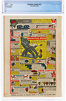 BNPS.co.uk (01202) 558833<br /> Pic: HeritageAuctions/BNPS<br /> <br /> A rare original comic which features Batman's historic first ever appearance has sold for £814,000 following a bidding war.<br /> <br /> The superhero was introduced to readers in the Detective Comics 27 issue released in May 1939.<br /> <br /> He features in 'The Case of the Chemical Syndicate' and is on the front cover in his Batsuit hanging above the skyline with a criminal in a headlock.