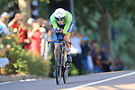 2021 UEC Road Cycling European Championships. Trento, Italy on September 9, 2021. Men Elite Individual Time Trial, Tadej POGACAR (SLO) in action during the ITT.