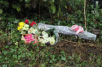 Pictured: Flowers and tributes left near the crime scene. Tuesday 26 October 2010<br /> Re: South Wales Police are investigating the murder of fifteen year old Rebecca Aylward from Maesteg, whose body was discovered in woods in Aberkenfig near Bridgend south Wales. Two fifteen year old men have been arrested and are being questioned by police.