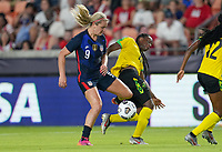 HOUSTON, TX - JUNE 13: Lindsey Horan #9 of the United States getting after a ball during a game between Jamaica and USWNT at BBVA Stadium on June 13, 2021 in Houston, Texas.