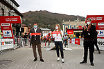 Cutting the ribbon for the start of Stage 12 of the Vuelta Espana 2020 running 109.4km from Pola de Laviana to Alto de l'Angliru, Spain. 1st November 2020..    <br /> Picture: Luis Angel Gomez/PhotoSportGomez | Cyclefile<br /> <br /> All photos usage must carry mandatory copyright credit (© Cyclefile | Luis Angel Gomez/PhotoSportGomez)