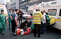 Firefighters, paramedic ambulance crews and traffic police officers attending a road traffic accident where a pedestrian was knocked down whilst running across a busy road...© SHOUT. THIS PICTURE MUST ONLY BE USED TO ILLUSTRATE THE EMERGENCY SERVICES IN A POSITIVE MANNER. CONTACT JOHN CALLAN. Exact date unknown.john@shoutpictures.com.www.shoutpictures.com.....