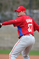 February 24, 2010:  Pitcher Chad Durbin (37) of the Philadelphia Phillies during practice at Carpenter Complex in Clearwater, FL.  Photo By Mike Janes/Four Seam Images