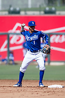 Kansas City Royals shortstop Jeison Guzman (1) on defense during an Instructional League game against the Cincinnati Reds on October 2, 2017 at Surprise Stadium in Surprise, Arizona. (Zachary Lucy/Four Seam Images)