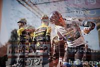 Matteo Trentin (ITA/Mitchelton Scott) at the sign-on podium at the race start in front of the Castello Sforzesco<br /> <br /> 110th Milano-Sanremo 2019 (ITA)<br /> One day race from Milano to Sanremo (291km)<br /> <br /> ©kramon
