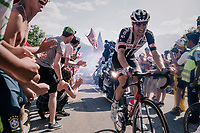 "Tom Dumoulin (NED/Sunweb) coming through ""Dutch Corner"" (#7) on Alpe d'Huez<br /> <br /> Stage 12: Bourg-Saint-Maurice / Les Arcs > Alpe d'Huez (175km)<br /> <br /> 105th Tour de France 2018<br /> ©kramon"