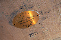 barrel with stamp lafite rothschild ch lafite rothschild pauillac medoc bordeaux france
