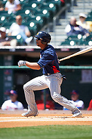 Toledo Mudhens Anthony Gose (12) bats during a game against the Buffalo Bisons on May 18, 2016 at Coca-Cola Field in Buffalo, New York.  Buffalo defeated Toledo 7-5.  (Mike Janes/Four Seam Images)