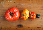 Heirloom Tomatoes.Pink Ponderosa, Purple Smudge, German Lunch Box, Black Cherry