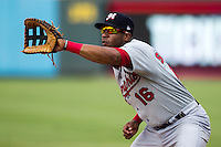 Memphis Redbirds first baseman Xavier Scruggs (16) on defense during the first game of a Pacific Coast League doubleheader against the Round Rock Express on August 3, 2014 at the Dell Diamond in Round Rock, Texas. The Redbirds defeated the Express 4-0. (Andrew Woolley/Four Seam Images)
