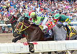 Wildcat Red (no. 3), ridden by Paco Lopez and trained by Jose Garoffalo, wins the Teddy Drone Stakes for three year olds and upward on August 2, 2015 at Monmouth Park in Oceanport, New Jersey. (Bob Mayberger/Eclipse Sportswire)