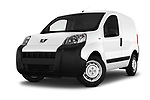 Stock pictures of low aggressive front three quarter view of a 2017 Peugeot Bipper Pro 3 Door Car van