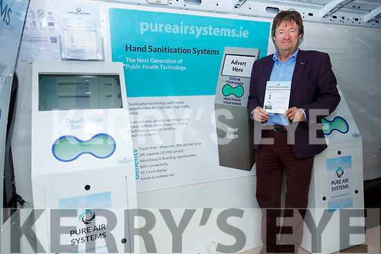 Hand Sanitation Mobile Display: Billy Sweeney pictured with his Mobile display van displaying hand sanitation units and pure air systems.