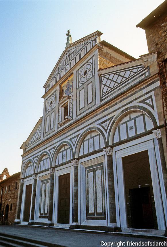"Florence: Santa Miniato Al Monte, 1018-12?? Basilica of Romanesque style.  Facade ""Incrustration"" (colored marble design) 1070. Photo '83."