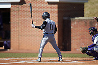 Derek Smith (11) of the Bryant Bulldogs at bat against the High Point Panthers at Williard Stadium on February 21, 2021 in  Winston-Salem, North Carolina. The Panthers defeated the Bulldogs 3-2. (Brian Westerholt/Four Seam Images)