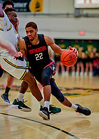 16 December 2018: Northeastern University Huskies Guard Donnell Gresham Jr., a Redshirt Junior from St. Paul, MN, in second half action against the University of Vermont Catamounts at Patrick Gymnasium in Burlington, Vermont. The Catamounts defeated the Huskies 75-70 in NCAA Division I America East play. Mandatory Credit: Ed Wolfstein Photo *** RAW (NEF) Image File Available ***