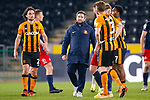 Sunderland Manager Lee Johnson chatting to players at full time. Hull 2 Sunderland 2, League One 20th April 2021.