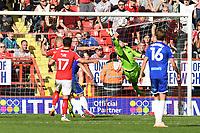 Owen Evans of Cheltenham FC misses a cross during Charlton Athletic vs Cheltenham Town, Sky Bet EFL League 1 Football at The Valley on 11th September 2021