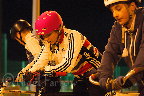 31 MAR 2015 - IPSWICH, GBR - Charlie-Jane Herbert (centre) waits to start the next drill during an Ipswich Cycle Speedway Club training session at Whitton Sports and Community Centre in Ipswich, Great Britain (PHOTO COPYRIGHT © 2015 NIGEL FARROW, ALL RIGHTS RESERVED)