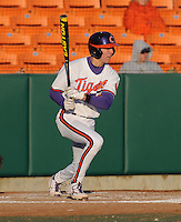 Shortstop Tyler Krieger (3) of the Clemson Tigers in a game against the Wofford Terriers on Wednesday, March 6, 2013, at Doug Kingsmore Stadium in Clemson, South Carolina. Clemson won, 9-2. (Tom Priddy/Four Seam Images)