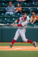 Oklahoma Sooners outfielder Craig Aikin #3 swings the bat against the Texas Longhorns in the NCAA baseball game on April 5, 2013 at UFCU DischFalk Field in Austin Texas. Oklahoma defeated Texas 2-1. (Andrew Woolley/Four Seam Images).