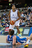 20 AUG 2014 - LONDON, GBR - Kieron Achara (GBR) from Great Britain prepares to shoot during the men's 2015 EuroBasket 3rd Qualifying Round game against Iceland at the Copper Box Arena in the Queen Elizabeth Olympic Park in Stratford, London, Great Britain (PHOTO COPYRIGHT © 2014 NIGEL FARROW, ALL RIGHTS RESERVED)