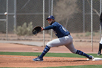 Milwaukee Brewers first baseman Gabriel Garcia (61) during a Minor League Spring Training game against the Colorado Rockies at Salt River Fields at Talking Stick on March 17, 2018 in Scottsdale, Arizona. (Zachary Lucy/Four Seam Images)