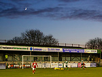 Zach Hemming of Blyth Spartans lets a shot slip under his body for another Brackley goal, as the crescent Moon sets behind Croft Park. Blyth Spartans v Brackley Town, 30112019. Croft Park, National League North. Photo by Paul Thompson.