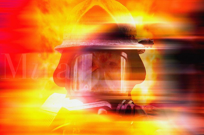 ..Firefighter with smoke mask. MR
