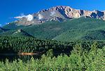 Summer view of Pikes Peak, Pike National Forest, near Crystal Reservoir, CO