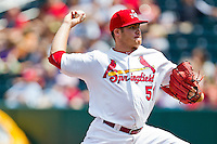 Eric Fornataro (51) of the Springfield Cardinals delivers a pitch during a game against the Arkansas Travelers at Hammons Field on May 8, 2012 in Springfield, Missouri. (David Welker/ Four Seam Images).