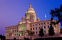 State House, State Capitol, Providence, Rhode Island, RI, The Rhode Island State House in the evening in the Capital City of Providence