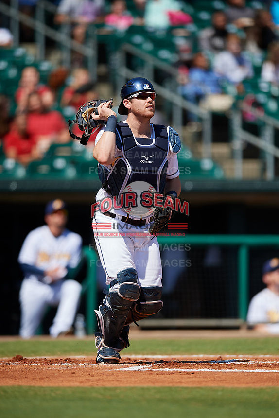 Montgomery Biscuits catcher Mac James (13) during a game against the Mississippi Braves on April 25, 2017 at Montgomery Riverwalk Stadium in Montgomery, Alabama.  Mississippi defeated Montgomery 3-2.  (Mike Janes/Four Seam Images)