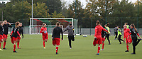 Woluwe players pictured warming up before a female soccer game between Oud Heverlee Leuven and Femina White Star Woluwe  on the 5 th matchday of the 2020 - 2021 season of Belgian Womens Super League , Sunday 18 th of October 2020  in Heverlee , Belgium . PHOTO SPORTPIX.BE   SPP   SEVIL OKTEM