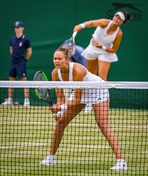 London, England, 5 th. July, 2018, Tennis,  Wimbledon, Womans doubles: Lesley Kerkhove (NED) and Lidziya Marozava (BLR) (R)<br /> Photo: Henk Koster/tennisimages.com