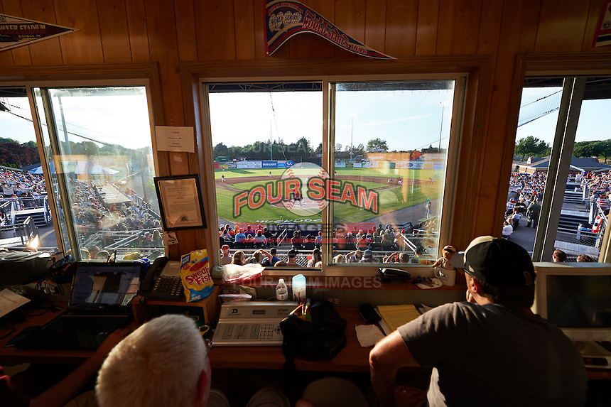 General view from the Batavia Muckdogs press box during a game against the Brooklyn Cyclones on July 4, 2016 at Dwyer Stadium in Batavia, New York.  Brooklyn defeated Batavia 5-1.  (Mike Janes/Four Seam Images)