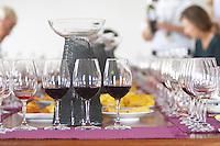 Wine tasting. Wine glasses. Henrque HM Uva, Herdade da Mingorra, Alentejo, Portugal