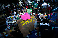 NEW YORK, NEW YORK - June 25: People are seen at the art station as they take part in a protest encampment near NYC City hall on June 25, 2020 in New York, NY. Demonstrators are calling for $1 billion in cuts of NYPD, as they protest encampment near City Hall and NYPD headquarters ahead of the city July 1 budget deadline.  (Photo by Eduardo MunozAlvarez/VIEWpress)