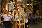 Arsenale Venice Italy 2009. Members of the Italian Communist Party in their cafe bar.