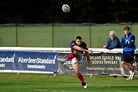 Dan Barnes of London Scottish in action during the Championship Cup match between London Scottish Football Club and Nottingham Rugby at Richmond Athletic Ground, Richmond, United Kingdom on 28 September 2019. Photo by Carlton Myrie / PRiME Media Images