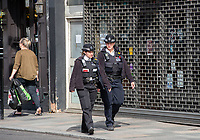 Local police on patrol during the Coronavirus pandemic at Sidcup, Kent, England on 2 April 2020. Photo by Alan Stanford.