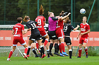 Estelle Loos (14) of Eendracht Aalst tries to get the ball away from the reach of Maud Coutereels (17) of Standard  during a female soccer game between Standard Femina de Liege and Eendracht Aalst dames on the fourth matchday in the 2021 - 2022 season of the Belgian Scooore Womens Super League , Saturday 11 th of September 2021  in Angleur , Belgium . PHOTO SPORTPIX | BERNARD GILLET